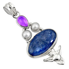 15.76cts natural blue kyanite amethyst pearl 925 silver owl pendant d42701