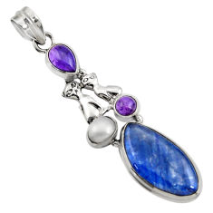 Clearance Sale- 14.99cts natural blue kyanite amethyst pearl 925 silver two cats pendant d42703