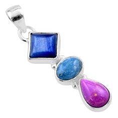 9.77cts natural blue kyanite aquamarine phosphosiderite silver pendant t48457