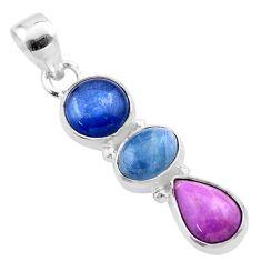 9.25cts natural blue kyanite aquamarine phosphosiderite silver pendant t48458
