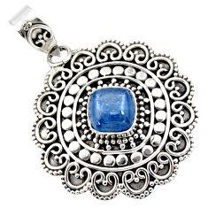 3.18cts natural blue kyanite cushion 925 sterling silver boho pendant r46981