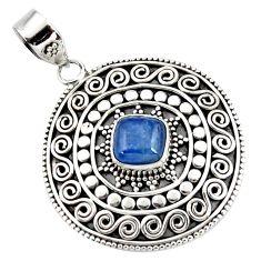 3.22cts natural blue kyanite cushion 925 sterling silver boho pendant r46982