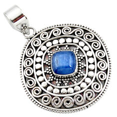 3.05cts natural blue kyanite cushion 925 sterling silver boho pendant r46983