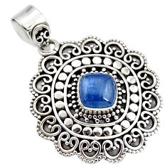 3.28cts natural blue kyanite cushion 925 sterling silver boho pendant r46993