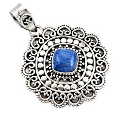 3.07cts natural blue kyanite cushion 925 sterling silver boho pendant r46995