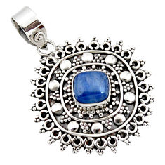 3.14cts natural blue kyanite cushion 925 sterling silver pendant jewelry r47014