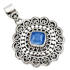 3.08cts natural blue kyanite cushion 925 sterling silver pendant jewelry r47015