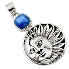 3.37cts natural blue kyanite cushion sterling silver moon face pendant r52855