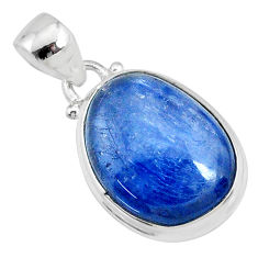 16.73cts natural blue kyanite fancy 925 sterling silver pendant jewelry r69341