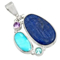 Clearance Sale- 19.23cts natural blue kyanite larimar topaz 925 sterling silver pendant d42679