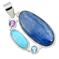 24.00cts natural blue kyanite larimar topaz amethyst 925 silver pendant d44242