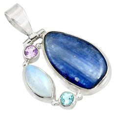 Clearance Sale- 17.57cts natural blue kyanite moonstone 925 sterling silver pendant d42666