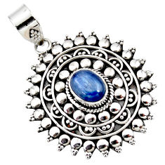 3.21cts natural blue kyanite oval 925 sterling silver boho pendant r46986