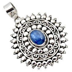 3.25cts natural blue kyanite oval 925 sterling silver boho pendant r46988
