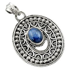 Clearance Sale- 4.01cts natural blue kyanite oval 925 sterling silver pendant jewelry d45067