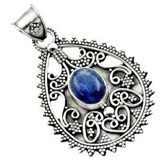 Clearance Sale- 4.73cts natural blue kyanite oval 925 sterling silver pendant jewelry d45073