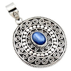 3.37cts natural blue kyanite oval 925 sterling silver pendant jewelry r47007