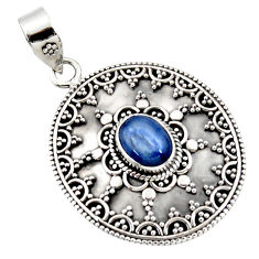 3.06cts natural blue kyanite oval 925 sterling silver pendant jewelry r47011