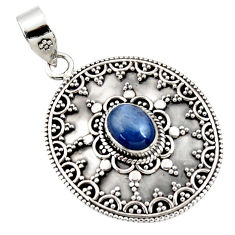 3.17cts natural blue kyanite oval 925 sterling silver pendant jewelry r47020