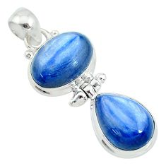 13.09cts natural blue kyanite oval 925 sterling silver pendant jewelry t10651
