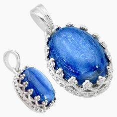 6.64cts natural blue kyanite oval 925 sterling silver pendant jewelry t20526