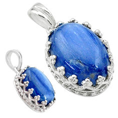 6.26cts natural blue kyanite oval 925 sterling silver pendant jewelry t20530