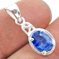 2.04cts natural blue kyanite oval 925 sterling silver pendant jewelry t51425