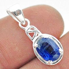 2.28cts natural blue kyanite oval 925 sterling silver pendant jewelry t51426