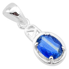 2.04cts natural blue kyanite oval 925 sterling silver handmade pendant t7889
