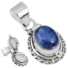 4.21cts natural blue kyanite oval 925 sterling silver poison box pendant r55616