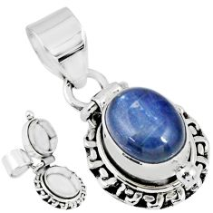 4.21cts natural blue kyanite oval 925 sterling silver poison box pendant r55620