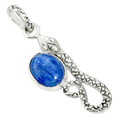 3.62cts natural blue kyanite oval shape sterling silver snake pendant r78464