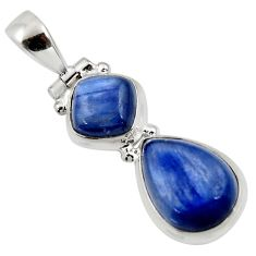 9.99cts natural blue kyanite pear 925 sterling silver pendant jewelry r46861