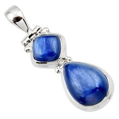 9.23cts natural blue kyanite pear 925 sterling silver pendant jewelry r46876