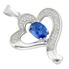 Natural blue kyanite topaz 925 sterling silver heart pendant jewelry c18198