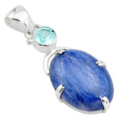 12.22cts natural blue kyanite topaz 925 sterling silver pendant jewelry t2622