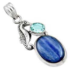 Clearance Sale- 14.88cts natural blue kyanite topaz 925 sterling silver seahorse pendant d42712