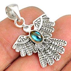 0.98cts natural blue labradorite 925 silver birds charm pendant jewelry r77816