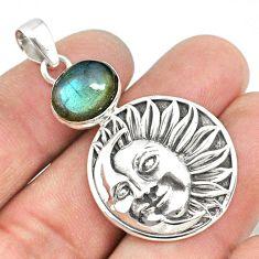 5.24cts natural blue labradorite 925 silver crescent moon star pendant r73051
