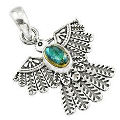 1.14cts natural blue labradorite 925 silver eagle charm pendant r67656