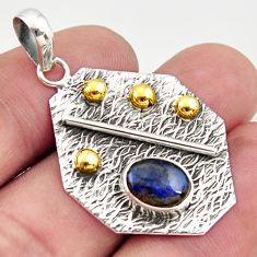 3.14cts natural blue labradorite 925 sterling silver 14k gold pendant r37178
