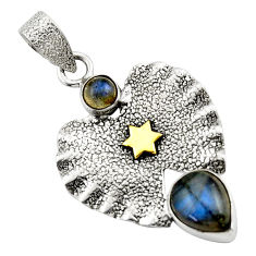 3.41cts natural blue labradorite 925 sterling silver 14k gold pendant r44578