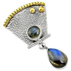 5.79cts natural blue labradorite 925 sterling silver 14k gold pendant r72924