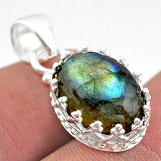 6.49cts natural blue labradorite 925 sterling silver crown pendant t43318