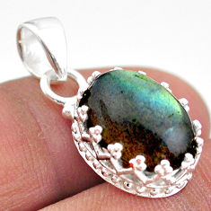 5.54cts natural blue labradorite 925 sterling silver crown pendant t43357