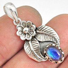1.96cts natural blue labradorite 925 sterling silver flower pendant r77760