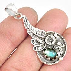 2.23cts natural blue labradorite 925 sterling silver flower pendant r77839