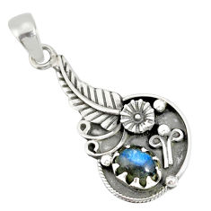 1.95cts natural blue labradorite 925 sterling silver flower pendant r77850
