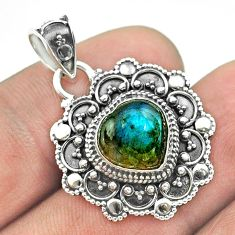 5.16cts natural blue labradorite 925 sterling silver heart pendant t56103