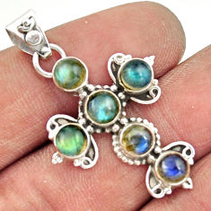5.38cts natural blue labradorite 925 sterling silver holy cross pendant r20806